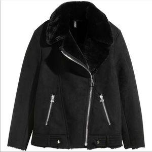 Jackets & Blazers - Faux Fur Suede Biker Jacket